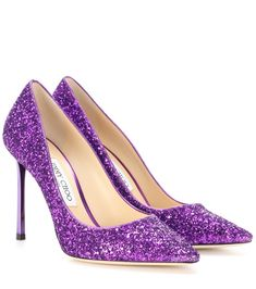 Jimmy Choo - Romy 100 glitter pumps - Jimmy Choo's Romy 100 pumps are crafted with a sparkling coating of purple-hued glitter. The pointed toe and slender, metallic heel provide a sharp finish to the dazzling pair. Use yours as an eye-catching finish to a neutral party dress. seen @ www.mytheresa.com