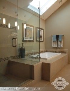 A great way to tie the bathroom tub and shower together and save on space! Created by Normandy Designer Jennifer Runner, AKBD Shower Seat, Shower Tub, Shower Benches, Bath Tub, Dream Bathrooms, Amazing Bathrooms, Bathroom Images, Design Bathroom, Bathroom Ideas