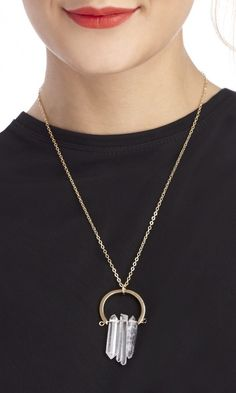 Natural quartz pendant on a 14k gold plated chain