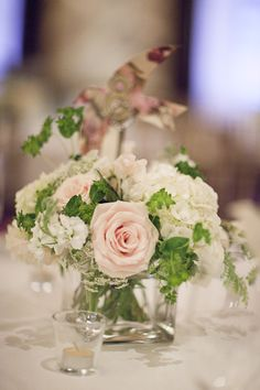 Ivory and Pink Rose Centerpiece