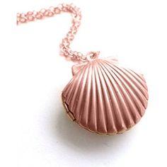 Amazon.com: Adecco LLC Sea Shell Locket, Mermaid Valentine Necklace,... (£0.14) ❤ liked on Polyvore featuring jewelry, pendants, sea shell jewelry, nautical jewelry, rose gold jewelry, seashell jewelry and rose gold locket