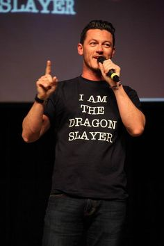 Luke Evans - love his shirt! <- YES!←The perfect t-shirt for him #Hobbit cast #LukeEvans #Bard