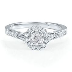 Kind of simple, kind of now. Love it! Radiant Star 3/4ct TW Diamond Engagement Ring in 14K Gold - Radiant Star Rings - Helzberg Radiant Star - Collections - Helzberg Diamonds  #pingagement #helzbergdiamonds