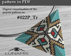 Peyote triangle patterns, pattern for triangle pendant, peyote patterns, beading, peyote stitch, digital file, pdf pattern #022P_Tr