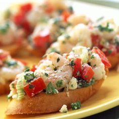 Greek Shrimp Bruschetta - Easy to make considering the wow factor. Served as appetizer for a small party. Made this twice and it's a real crowd pleaser!