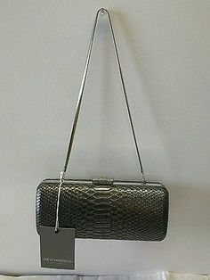 DEVI KROEL FOR TARGET - ANTHRACITE SILVER SNAKESKIN CLUTCH