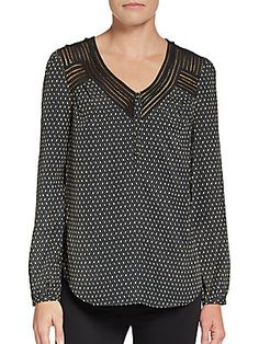 Printed Lace-Inset Blouse