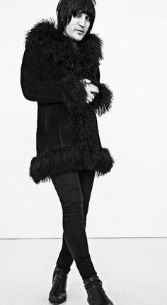 Furry coat & skinny pants.                                                                                                                                                                                 More