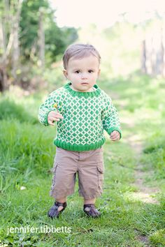 Baby Sweater, Hand Knit, Unisex -- EAST CAPITOL STREET -- Children Clothing -- Green and Cream -- Great for Baby Showers.