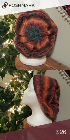 NEW Slouch Hat Handknit by me. Never worn. Machine wash, lay flat to dry. Accessories Hats