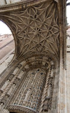 Albi Cathedral portal.  Amazing Gothic window carving detail and vaulted ceiling structure!