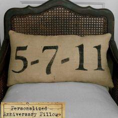 Remember the Day  Burlap  Feed Sack Pillow  by nextdoortoheaven