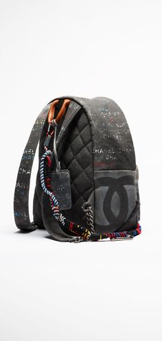 Chanel Graffiti printed canvas backpack