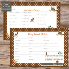 baby shower woodland animal theme | baby animal match game, woodland theme - INSTANT DOWNLOAD by Paper ...