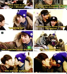 Xiumin and Zitao playing the pepero game!