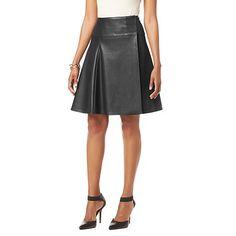NENE by NeNe Leakes Faux Leather Flared Skirt at HSN.com