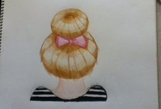 My drawing I drew. Back of girl wearing her hair in a bun