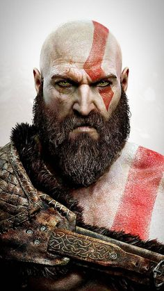 Kratos God Of War, Viking Art, Viking Warrior, Gaming Wallpapers, Movie Wallpapers, God Of War Game, Old Man Portrait, Christ Tattoo, War Tattoo