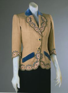 Woman's Afternoon Jacket Designed by Elsa Schiaparelli, French (born Italy), 1890 - 1973 Made in Paris, France, Europe Date: Summer 1940 .