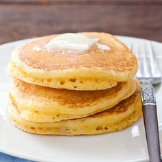 Fluffy Cornmeal Pancakes - Cook's Country- If you love corn like I do, these are a MUST try!