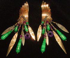 Modernist Boho Tribal Tabra 14k Gold Fill Angel Wing Feather Amethyst Malachite Turquoise Chandelier Earrings by BohoTresChic on Etsy