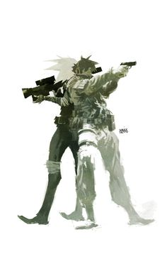 """""""This painting moves me, it's just so damn cool."""" Ashley Wood is without doubt one of my all time favourite artists, his work on POPBO. Ashley Wood, Drawing Cartoon Characters, Cartoon Drawings, Alternative Comics, Metal Gear Solid, Sketch Inspiration, Comic Artist, Great Artists, Wood Art"""