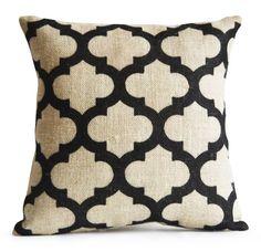 Trellis Burlap Pillow Cushion Cover Decorative by AmoreBeaute