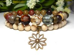 Nature inspired flower bracelets are made with 8mm River Jasper complimented…