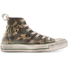 CONVERSE camouflage print trainer ($105) ❤ liked on Polyvore featuring shoes, sneakers, converse, scarpe, camo shoes, camo sneakers, green sneakers, converse shoes and converse sneakers
