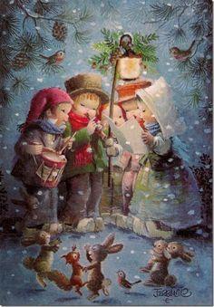 Natal com Juan Ferrandiz Castells - - Christmas with Juan Ferrandiz Castells ( 1918 - Vintage Christmas Images, Old Christmas, Christmas Scenes, Retro Christmas, Christmas Carol, Christmas Pictures, Christmas Greetings, Christmas Holidays, Christmas Crafts