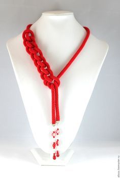 """Handmade Lariat """"Dragon Flame"""" - red, gift, gift for a woman girl"""