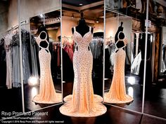 Peach Prom Dress-Crystals-Cut Outs-Open Back-116JC056710