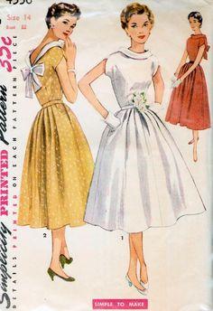 1950s SIMPLICITY 4556 DRESS PATTERN BEAUTIFUL STANDAWAY NECKLINE, V BACK, FULL SKIRT, EASY TO MAKE