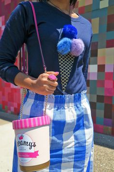 Ice Cream Sweatshirt & Gingham Skirt | blue gingham skirt, ice cream purse, kate spade bag, kate spade new york handbag, pink howlite ring, summer outfit, how to wear a summer sweater