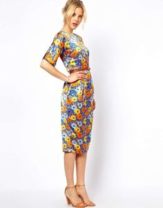 7dfe798a18 ASOS Soft Wiggle Dress In Floral Print With Belt on Wantering Wiggle Dress