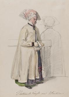 Dräkt. Nattvardsdräkt om vintern. Akvarell i storformat av J.W Wallander