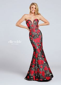 EW117052 - Strapless floral embroidered lace trumpet gown, hand-beaded plunging sweetheart neckline with illusion modesty panel, beaded waistband, open bandeau back, horsehair hem. Removable straps included. Ellie Wilde by Mon Cheri Prom - Estelle's Dressy Dresses in Farmingdale , NY - Prom 2017 - Prom dresses