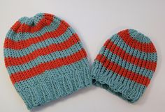 Basic loom knit hats for beginners. Free pattern.