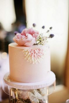 Elegant blush pink cake with pink peony..   ⊱ղb⊰