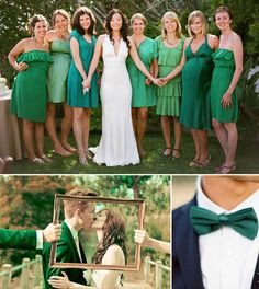 emerald wedding.  Notice the variation in color of the bridesmaid dresses!  I love this look and think that you can all be pretty free with choosing your dresses. #Emerald #Wedding #OuterInner