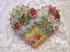 Crazy quilt pin  trimmed with lovely vintage trims by GlosterQueen