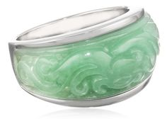 Sterling Silver Jade Ring, Size 7