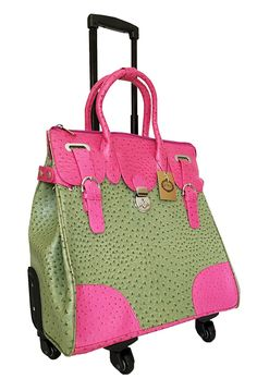 21' Computer/laptop Carryon Bag Tote Duffel Rolling 4 Wheel Spinner Luggage Ostrich Pink >>> Want to know more, click on the image. (This is an Amazon Affiliate link and I receive a commission for the sales)
