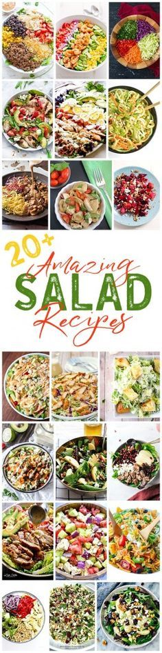 So many delicious salad recipes to try! So full of delicious flavors and ingredients they can be the healthy main dish for lunch or dinner! (Recipes To Try) Clean Eating, Healthy Eating, Salad Dressing Recipes, Summer Salads, Healthy Salad Recipes, Vegetarian Salad, Soup And Salad, Sauces, Food To Make