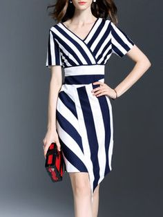 Work Stripes V Neck Short Sleeve Midi Dress