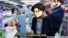 This counts as one Eren & Levi and Hanji in the back XD