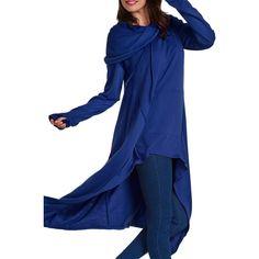 Pocket Design Navy Blue Pullover Hoodie ($32) ❤ liked on Polyvore featuring tops, hoodies, navy blue, navy blue hoodie, hooded sweatshirt, long sleeve pullover, navy blue hoodies and long sleeve tops