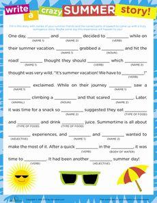 Crazy Story: Summer Worksheet