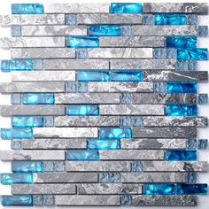 Sea blue glass mosaic tile kitchen backsplash grey marble bathroom interlocking wall shower bathtub fireplace mosaic tiles