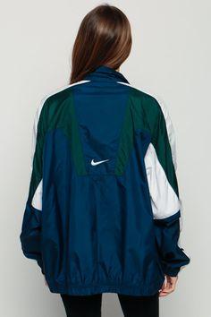 Nike Windbreaker Jacke 80er Jahre Nylon Shell Jacke Navy blau